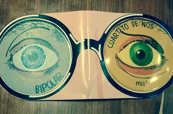 Diseño de arte de CD para el disco Bipolar de la banda El Cuarteto de Nos