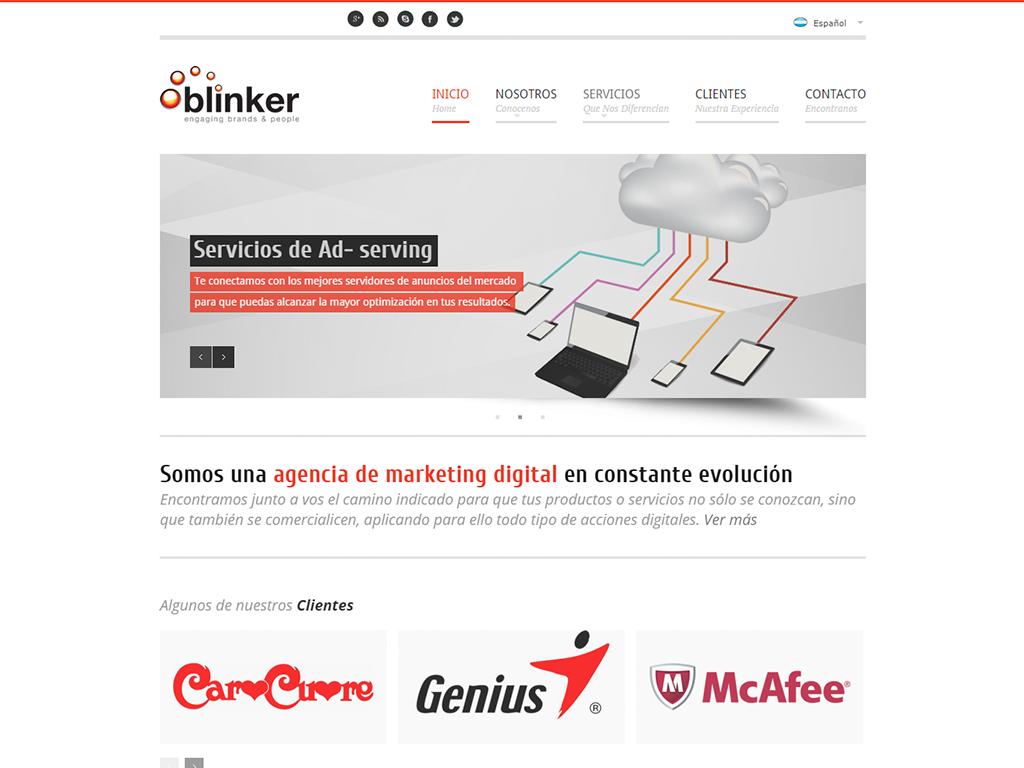 Diseño de sitio web institucional en wordpress para la marca Blinker