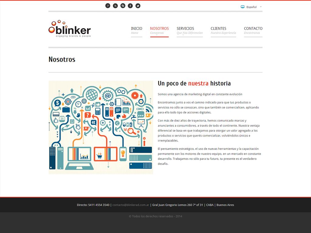 Diseño de sitio web institucional en wordpress para la marca Blinker - Sección Nosotros
