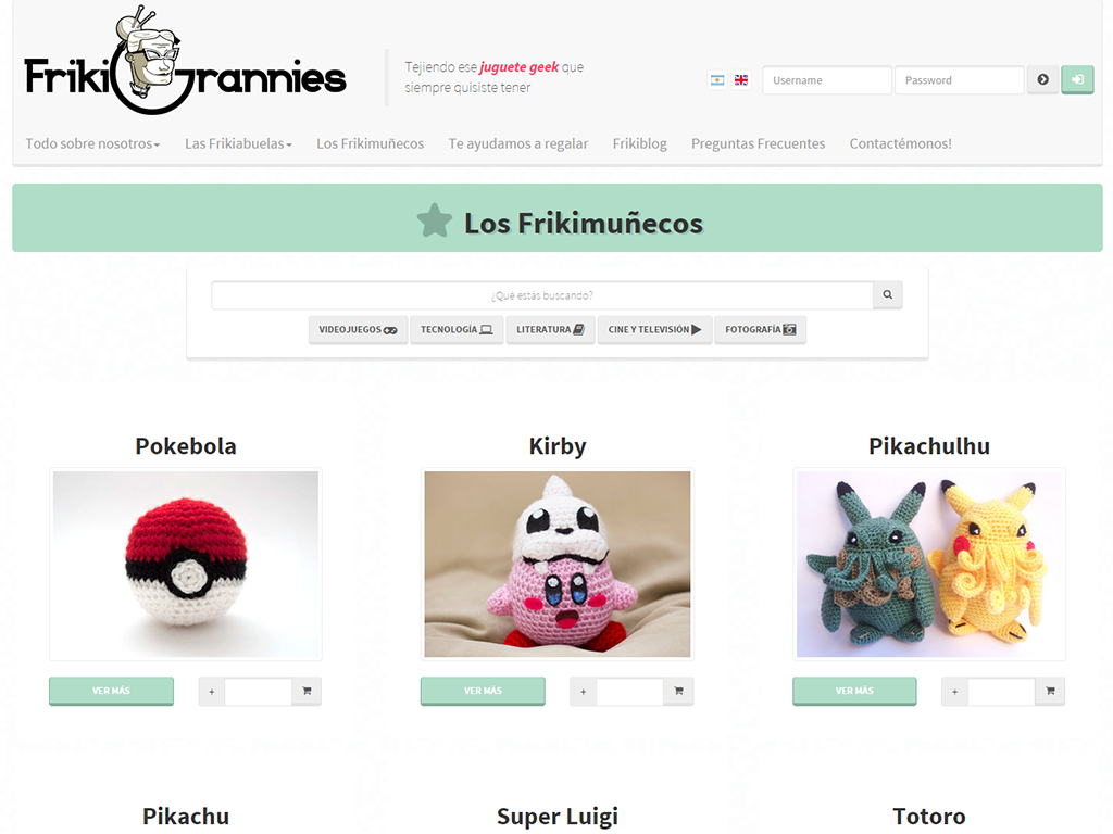 Frikigrannies - Desarrollo freelance de sitio web con PHP y MySQL