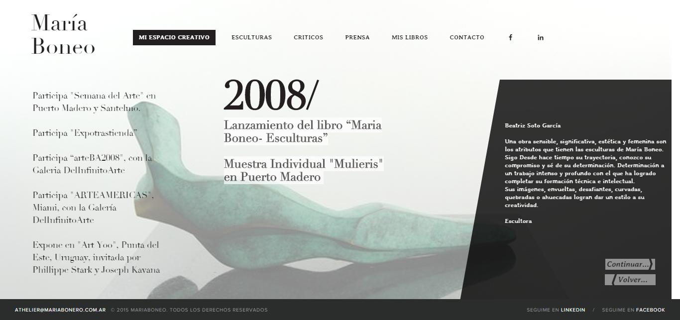 María Boneo - Portfolio interactivo desarrollado en wordpress - slider de biografía